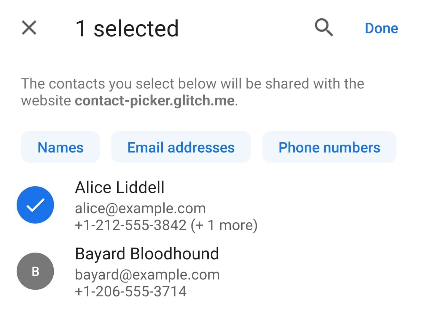 Contact Picker Example